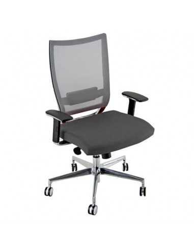 Sedia semidirezionale girevole Unisit Concept COTXL schienale in rete grigio - rivestimento pelle grigio - COTXL/PT
