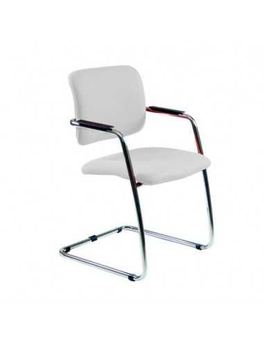 Sedia visitatore con slitta Unisit Lithium LTLT struttura cromata - rivest. similpelle bianco impilabile LTLT/KQ