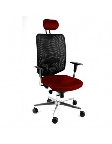 Sedia semidirezionale girevole Unisit Newair NWNAP con poggiatesta schienale alto nero - riv. ignifugo rosso NWNAP/IR