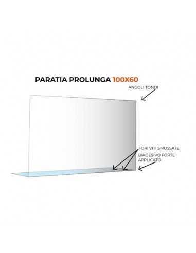 Paratia prolunga formato 100x60 cm policarbonato trasparente 05N01935365650