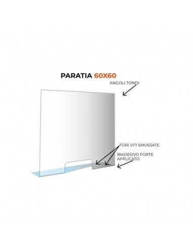 Paratia formato 60x60 cm policarbonato trasparente 05N01935375650