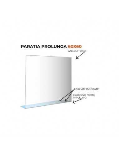 Paratia prolunga formato 60x60 cm policarbonato trasparente 05N01935385650