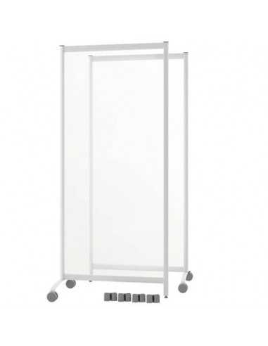 Pannelli separatori di protezione mobili con ruote Paperflow in plexiglass trasparente - 76x44xh170 cm - Set 2 pz.